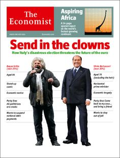 """""""Send in the Clowns"""" - Italy's Politicians make The Economist's cover"""
