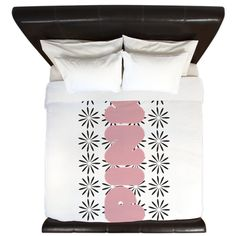 Pink Monogram Floral Pattern King Duvet, editable text.#pink