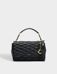 DKNY Diamond Quilted Medium Flap Shoulder Bag in Black Quilted Lamb Nappa Leather