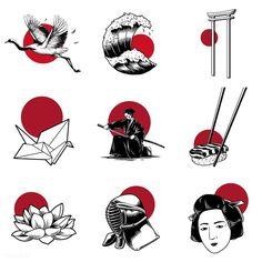 ideas tattoo designs vintage for 2019 Japan Illustration, Simple Illustration, Free Illustrations, Tattoo Illustration, Flash Art Tattoos, Body Art Tattoos, Sleeve Tattoos, Tattoo Sketches, Tattoo Drawings