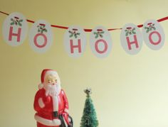 handstamped Christmas garland red holly and 'ho ho by chiarabelle