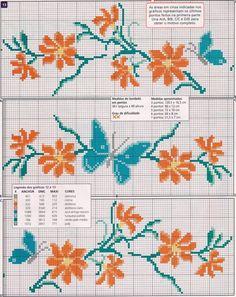 """Oi amigas!  Hoje vou postar pra vocês, flores! Quando não sei o que bordar... escolho sempre as flores! A questão é escolher qual o gráfico,... [   """"Layette Cross Stitch by Nubia Cortinhas: Flowers, flowers and more flowers"""" ] #<br/> # #Cross #Stitch #Borders,<br/> # #Crossstitch,<br/> # #Needlepoint,<br/> # #Layette,<br/> # #Flower,<br/> # #Stitches,<br/> # #Butterflies,<br/> # #Cross #Stitch,<br/> # #Embroidery<br/>"""