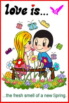 love is... the fresh smell of a new spring. Kim Casali comic stripes