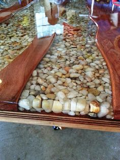 River bend table, 06/17/14. cherry wood, hemlock, river stones, epoxy