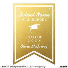 Chic Gold Trendy Graduation Class of 2016 Custom Bunting Flags