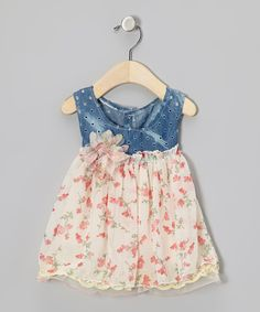 Take a look at this Denim & Cream Floral Chiffon Dress - Infant & Toddler on zulily today!