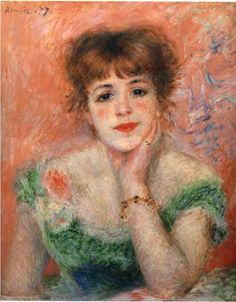 Jeanne Samary in a Low Necked Dress - Pierre-Auguste Renoir  Completion Date: 1877  Style: Impressionism  Period: Association with Impressionists  Genre: portrait  Technique: oil  Material: canvas  Dimensions: 46 x 56 cm  Gallery: Pushkin Museum of Fine Art, Moscow, Russia