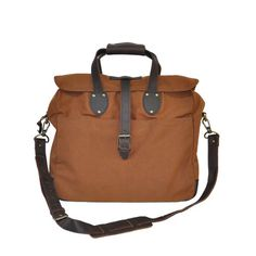 Laptop Bag Nutmeg by United by Blue - organic waxed cotton canvas - for every product it sells, they remove a pound of trash from oceans and waterways - unfortunately,  this bag does have some leather on it - would have been perfect with faux leather!