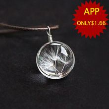 Hot vente réel pissenlit bijoux cristal boule en verre de pissenlit collier longue bande en cuir chaîne pendentif colliers pour les femmes(China (Mainland))