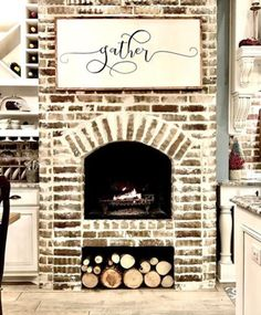 Gather Shown above is the Extra Large Approximately 43 x 22 Signboard. Please select additional sizes above in drop down box if needed. Printed Board Stained Wood Frame Please note these boards - Fireplace Today My Living Room, Home And Living, Farmhouse Style, Farmhouse Decor, Country Decor, Future House, My House, Apartment Decoration, Fireplace Design