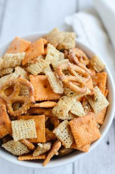Cheesy Ranch Chex Mix - a delicious snack mix recipe! Perfect for football games!