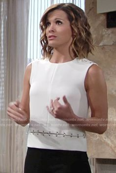 Chelsea's white sleeveless linked top on The Young and the Restless.  Outfit Details: https://wornontv.net/57589/ #TheYoungandtheRestless