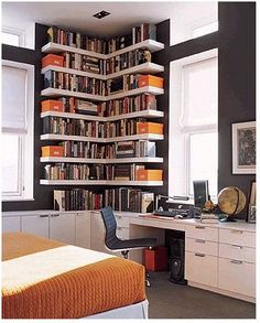 clever use of a small and awkward corner - Shelving