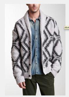 fd2d1b1cc2e3f6 Shawl Collar Cardigan, Wool Cardigan, Fair Isle Knitting, Hand Knitting,  Men's