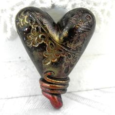 Faux Antique Brass Lace Heart Pendant/Bead by LavaGifts on Etsy, $9.00
