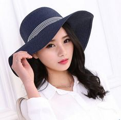 Fashion striped straw sun hat for women cheap summer hats package