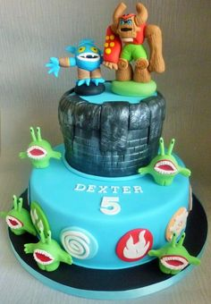 Skylanders Cake with Pop Fizz and Tree Rex - Cake by Debbie Noye