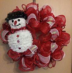 Christmas Deco Mesh Wreath by DecoMeshbyKim on Etsy, $50.00