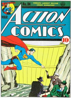 Cover for Action Comics (DC, 1938 series) Old Superman, Superman Action Comics, Superman Comic, Dc Comics Art, Marvel Dc Comics, Comic Superheroes, Superman Family, Dc Comic Books, Vintage Comic Books