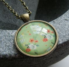 SPRING GREEN antiqued bronze pendant necklace £6.00