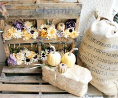 Porch Decorations: Fall Flowers in Wood Pallets and grain sack. Learn the howto at FineCraftGuild.com