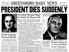On this day in President Franklin Delano Roosevelt passes away after four momentous terms in office, leaving Vice President Harry S. Truman in charge of a country still fighting the Second World War and in possession of a we American Presidents, Us Presidents, American History, Native American, History Facts, World History, Franklin Roosevelt, Roosevelt Family, Journals