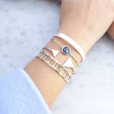 Iris Silver/Blue Night Jonc Bracelet - Majolie   - 1