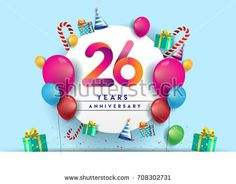 26th years Anniversary Celebration Design with balloons and gift box, Colorful design elements for banner and invitation card.