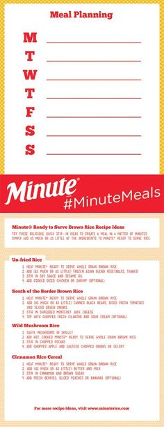 Easy and healthy brown rice recipes with perfectly portioned servings from @MinuteRice Ready to Serve, plus a free meal planning printable! AD MixInMinute http://www.yourmodernfamily.com/yellow-rice-black-bean-pepper-recipe-favorite/