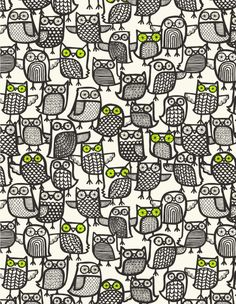 (Again with the owls!) Pattern by Peagreen, featured in Marie Perkins / Bowie Style's book collection of lovely patterns from her blog, Print & Pattern