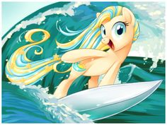 This pony is a lot like my pony sea side surf a.k.a waves, but mine has a different cutie mark and is a peigisis pony and her hair is a little different:) but this can give you an idea:)