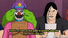 rockso the clown Tv Funny, Funny Memes, Funny Stuff, Toki Wartooth, Metal Meme, Metalocalypse, Goth Music, Everything Funny, Metalhead