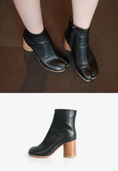 These split toe leather boots are something out of a stylish dream with their chic and fashion-forward style. Perfect with an edgy outfit. - Ankle length - Paneled front - Side zip closure - Chunky heels - Color: Black