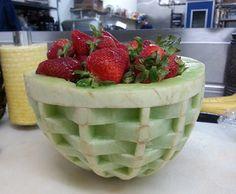 basket weave melon bowl by Ric Testani