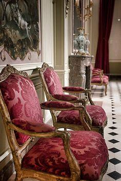 """Louis XV armchairs """"Fauteuils à la reine"""" made by Nicolas Heurtaut for Martial-Louis Beaupoil de Saint-Aulaire, bishop of Poitiers, circa 1755, Le Louvre Museum, Paris, France"""