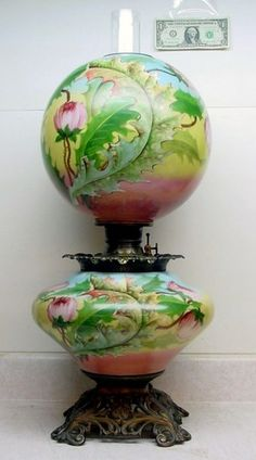 Scarce Huge Ornate Fostoria Gone With The Wind Hand Painted Lamp W Small Repair Ebay
