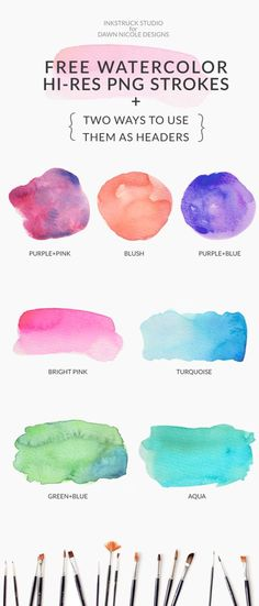 Free Watercolor Brushstroke Graphics. I absolutely love watercolors. And if you're a blogger, you'll absolutely love these free watercolor brushstrokes.Bonus tutorial with video on how to use them included - Inkstruck Studio for Dawn Nicole Designs