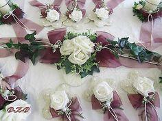 17 tlg.Tischdekoration bordeaux creme Hochzeit Verlobung Konfirmation Kommunion