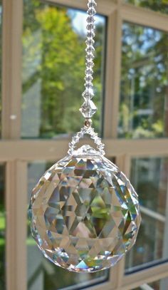 Swarovski Ball, Flawless or (Tiny Flaw) Faceted Crystal Ball Suncatcher With/Without Strand, Rainbow Maker, Sun Catcher Swarovski Crystal Beads, Faceted Crystal, Crystal Ball, Rectangle Chandelier, Beaded Chandelier, Feng Shui, Burlap Wall, Beaded Banners, Hanging Crystals