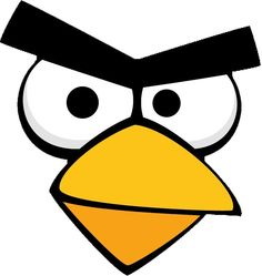 Red Angry Bird face template for sticking onto party bags & party hats