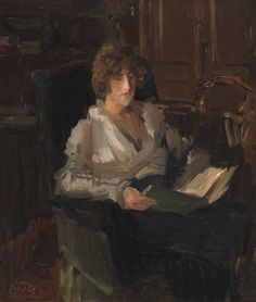 Woman Reading in Interior.Isaac Lazarus Israëls (Dutch, 1865-1934). Oil on canvas.Israëls' oils were painted in flat broad strokes. In his later works, he employed his very personal Impressionist style, which emphasized the interplay of light, colour, line and movement.