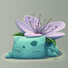 Sleepy cherry blossom Bulbasaur