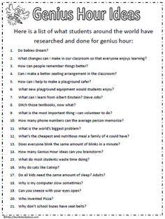 Ideas for Genius Hour