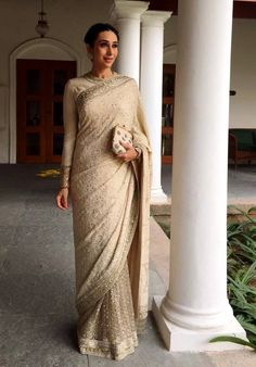 One of Sabyasachi's best sarees. A special chikankari half and half saree with a crystal border and blouse with art deco cuffs. This saree is on order and can b Sabyasachi Sarees, Bollywood Saree, Georgette Sarees, Bollywood Fashion, Bollywood Actress, Indian Wedding Outfits, Indian Outfits, Indian Clothes, Indian Weddings