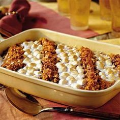 We started with this mouthwatering sweet potato casserole and modified the toppings to satisfy lovers of crunchy pecans and cornflakes as well as marshmallows.