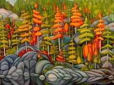 Deb Gibson Temagami by Oil on Canvas Canadian Painters, Canadian Artists, Abstract Landscape, Landscape Paintings, Landscapes, Naive Art, Tree Art, Unique Art, Creative Art