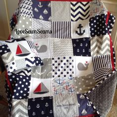 NAVY/GRAY/RED Nautical Nurseary/Coastal nursery/Nautical Pillow Sold Seperately by Lovesewnseams on Etsy
