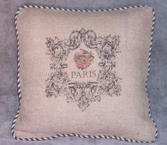 Burlap Throw Pillow Paris Bird Nest Washed   eBay