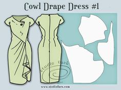 Oh good grief! was the first response to our Saturday morning #PatternPuzzle. However by mid-afternoon all was solved and the sketch delivered. The Cowl Drape Dress features a wide, built-up necklin