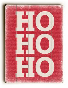 Ho Ho Ho on Red Wooden Wall Décor